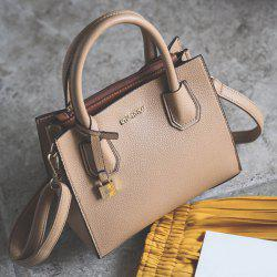 Letter Textured PU Leather Handbag - APRICOT