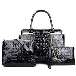 Metal Crocodile Embossed PU Leather Tote