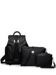 Casual Nylon Front Pocket Backpack - BLACK