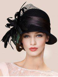 Charming Feather Ribbon Band Bowler Hat - BLACK