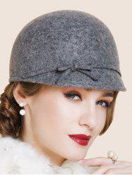 Outdoor Bowknot Lace up Cloche Hat - GRAY