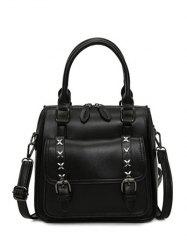 PU Leather Criss-Cross Double Buckles Handbag - BLACK