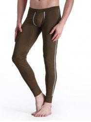 Elastic Waist Warmth Edging Design Long John Pants