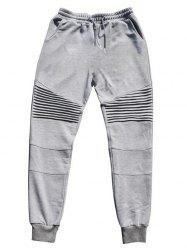 Pleats Design Beam Feet Cotton Jogger Pants - GRAY