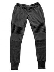 Pleats Design Beam Feet Biker Jogger Pants - BLACK
