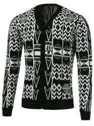 Geometric Pattern V-Neck Single-Breasted Cardigan