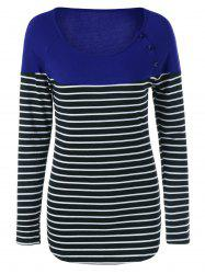 Button Decorated Striped T-Shirt -
