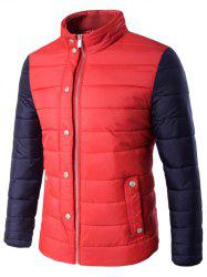 Snap Button Zip Up Stand Collar Two Tone Quilted Jacket - RED 5XL