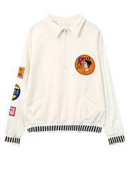 Flat Collar Embroidered Patched Sweatshirt