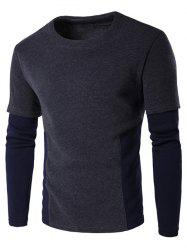 Faux Twinset Color Block Crew Neck Long Sleeve Sweatshirt