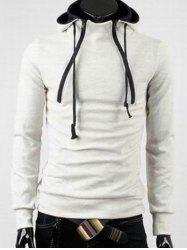 Double Zipper Design Hooded Long Sleeve Fleece Hoodie -