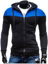 Color Block Splicing Design Hooded Long Sleeve Zip-Up Hoodie - BLUE AND BLACK