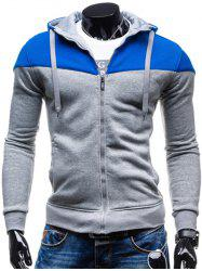 Color Block Splicing Design Hooded Long Sleeve Zip-Up Hoodie - BLUE+GRAY
