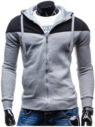 Color Block Splicing Design Hooded Long Sleeve Zip-Up Hoodie - BLACK AND GREY XL