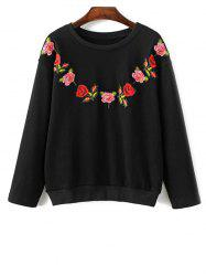 Flower Embroidered Sweatshirt