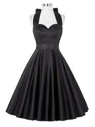 Retro Ruched Hem Halter Swing Prom Dress -