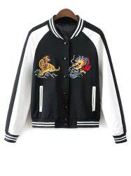 Buttoned Embroidered Baseball Jacket -