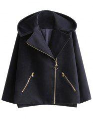 Hooded Wool Blend Inclined Zipper Coat - PURPLISH BLUE L