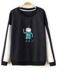Round Neck Color Block Astrodog Print Sweatshirt - BLACK ONE SIZE