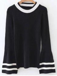 Crew Neck Flare Sleeve Striped Knitwear -
