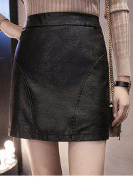 High Waisted Faux Leather Sheath Skirt - BLACK M