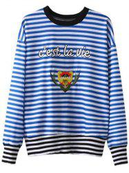 Patched Striped Sweatshirt -