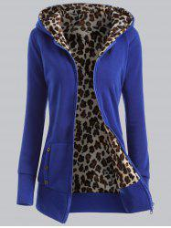 Plus Size Leopard Pattern Fur-Lined Coat - BLUE