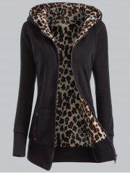 Plus Size Leopard Pattern Fur-Lined Coat - BLACK