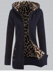 Plus Size Leopard Pattern Fur-Lined Coat -