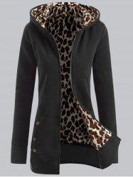Plus Size Leopard Pattern Fur-Lined Coat - BLACK GREY