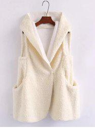 Pompon Shearling Hooded Vest - WHITE ONE SIZE