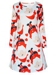 Longue de Santa Sleeve Print Christmas Swing Dress - Blanc