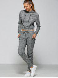Casual Drawstring Crop Hoodie+Pants - GRAY