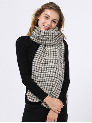 Outdoor Small Plaid Pattern Fringed Edge Scarf -