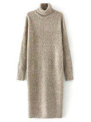 Turtleneck Tweed Chunky Midi Jumper Dress