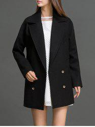 Lapel Neck Fitting Pea Coat - BLACK