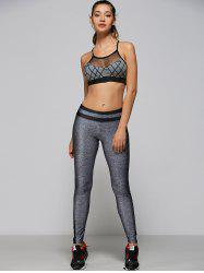 Openwork Mesh Geometry Strappy Sports Bra - GRAY