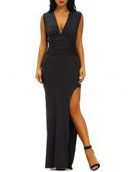 Plunging Neck Criss Cross Maxi Slit Formal Dress