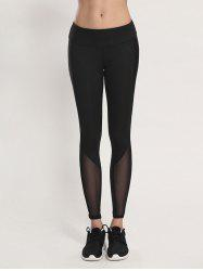 Voile Bodycon Yoga Leggings - BLACK