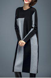 Woolen Color Block Robe en maille -