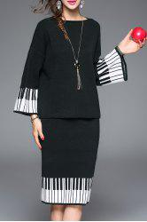Striped Sweater and Knee Length Sheath Skirt