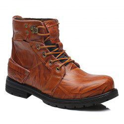 Lace Up PU Leather Metal Boots -