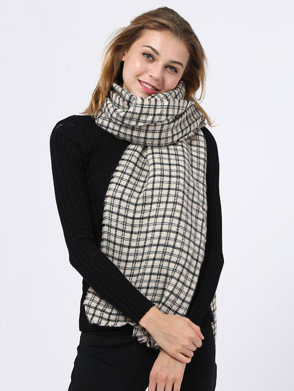 New Outdoor Small Plaid Pattern Fringed Edge Scarf