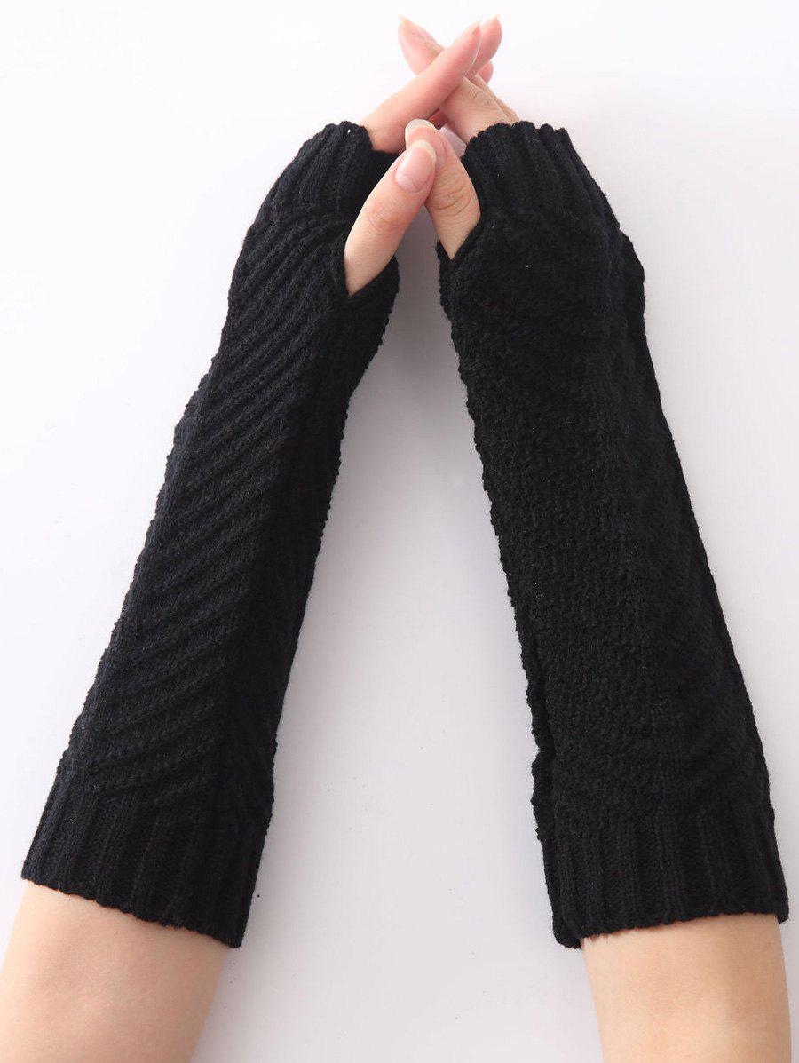 Christmas Winter Fishbone Crochet Knit Arm WarmersACCESSORIES<br><br>Color: BLACK; Group: Adult; Gender: For Women; Style: Fashion; Glove Length: Elbow; Pattern Type: Others; Material: Acrylic; Weight: 0.069kg; Package Contents: 1 x Arm Warmers(Pair);