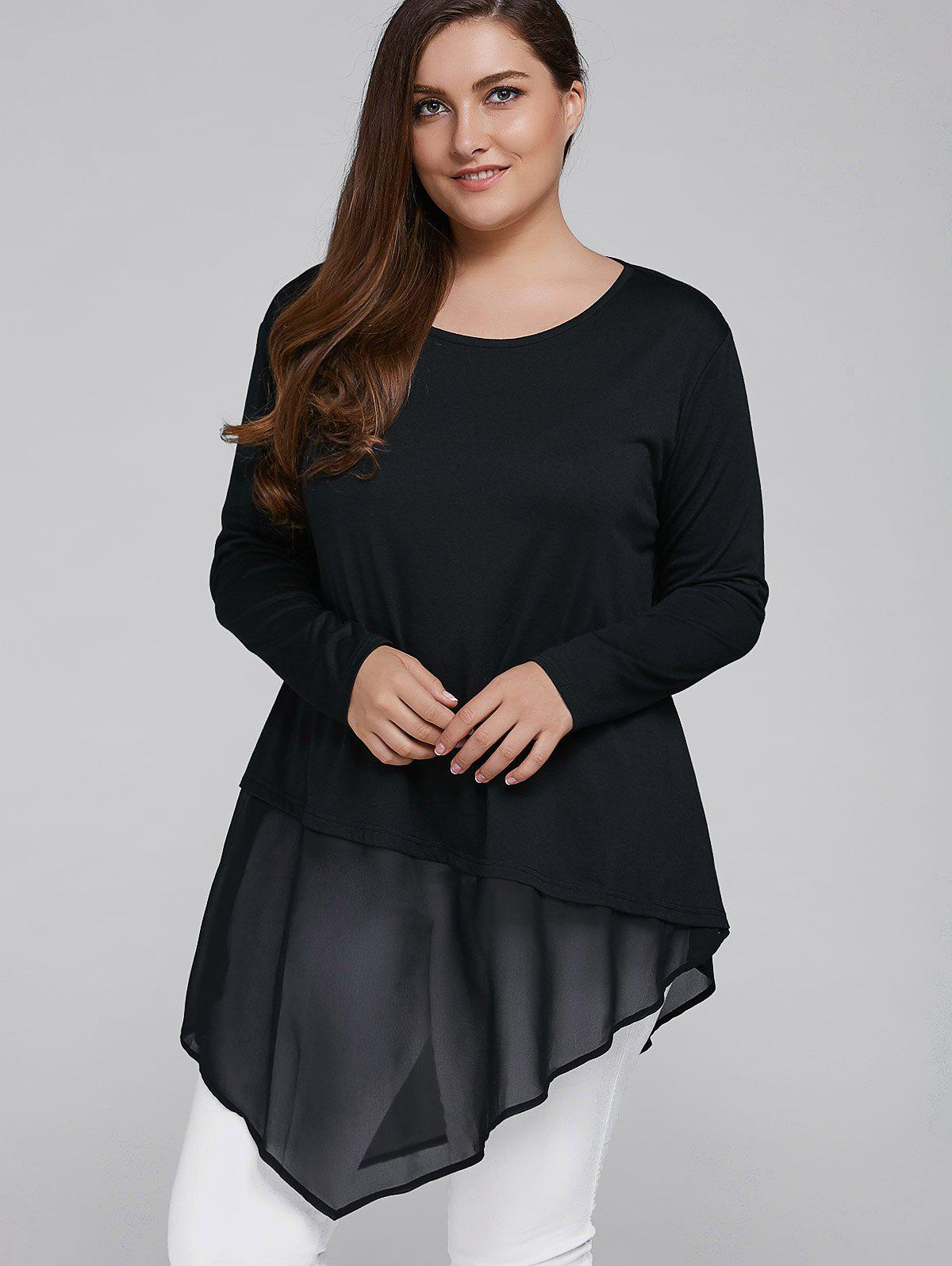 Plus Size Chiffon Patchwork Asymmetrical BlouseWOMEN<br><br>Size: 5XL; Color: BLACK; Material: Polyester,Spandex; Shirt Length: Long; Sleeve Length: Full; Collar: Scoop Neck; Style: Fashion; Season: Fall,Spring; Pattern Type: Solid; Weight: 0.380kg; Package Contents: 1 x Blouse;