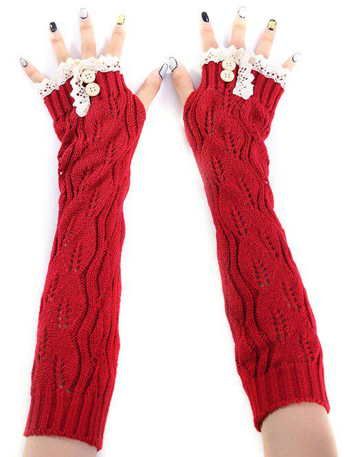 Christmas Winter Lace Buttons Hollow Out Crochet Knit Arm WarmersACCESSORIES<br><br>Color: RED; Group: Adult; Gender: For Women; Style: Fashion; Glove Length: Elbow; Pattern Type: Solid; Material: Acrylic; Weight: 0.094kg; Package Contents: 1 x Arm Warmers(Pair);
