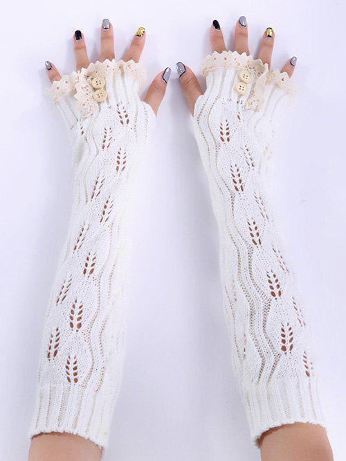 Christmas Winter Lace Buttons Hollow Out Crochet Knit Arm WarmersACCESSORIES<br><br>Color: WHITE; Group: Adult; Gender: For Women; Style: Fashion; Glove Length: Elbow; Pattern Type: Solid; Material: Acrylic; Weight: 0.094kg; Package Contents: 1 x Arm Warmers(Pair);