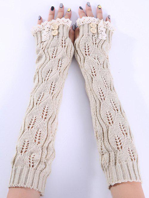 Christmas Winter Lace Buttons Hollow Out Crochet Knit Arm WarmersACCESSORIES<br><br>Color: BEIGE; Group: Adult; Gender: For Women; Style: Fashion; Glove Length: Elbow; Pattern Type: Solid; Material: Acrylic; Weight: 0.094kg; Package Contents: 1 x Arm Warmers(Pair);