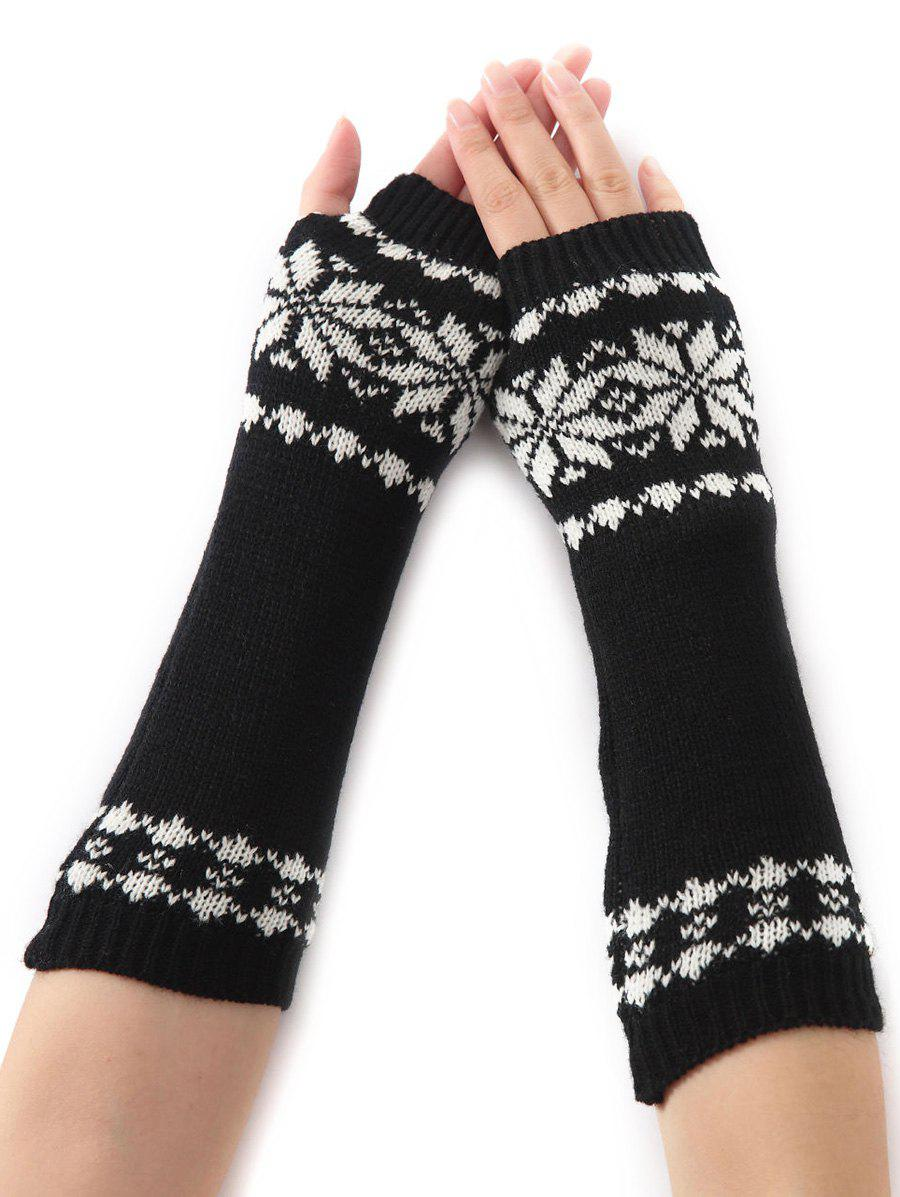 Winter Warm Christmas Snow Floral Crochet Knit Arm WarmersACCESSORIES<br><br>Color: BLACK; Group: Adult; Gender: For Women; Style: Fashion; Glove Length: Elbow; Pattern Type: Floral; Material: Acrylic; Weight: 0.066kg; Package Contents: 1 x Arm Warmers(Pair);