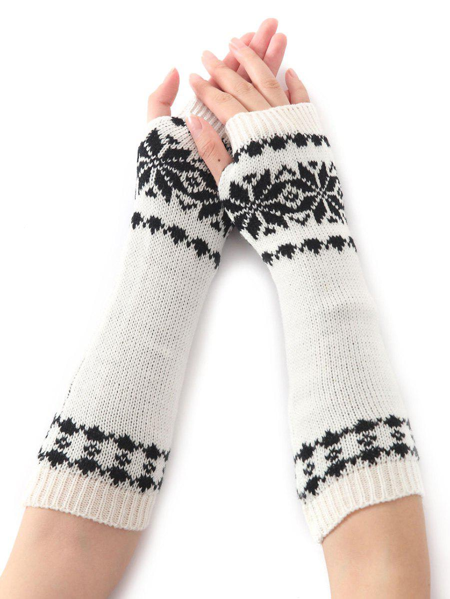 Winter Warm Christmas Snow Floral Crochet Knit Arm WarmersACCESSORIES<br><br>Color: WHITE; Group: Adult; Gender: For Women; Style: Fashion; Glove Length: Elbow; Pattern Type: Floral; Material: Acrylic; Weight: 0.066kg; Package Contents: 1 x Arm Warmers(Pair);